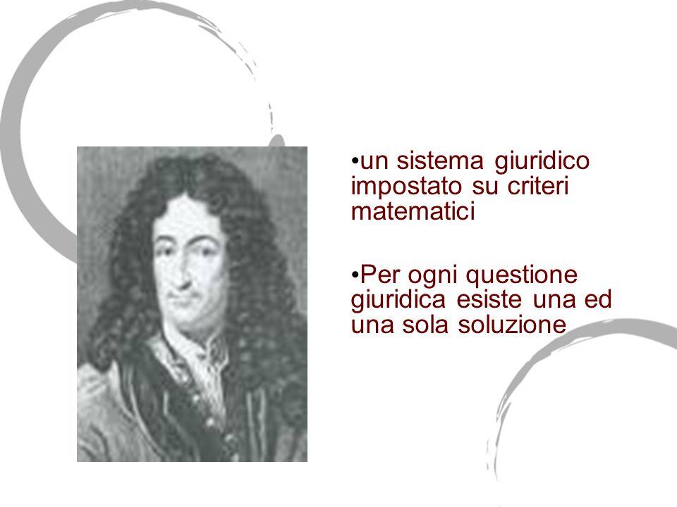 Gottfried Wilhelm Leibnitz (1646-1716) un sistema giuridico impostato su criteri matematici Per ogni questione giuridica esiste una ed una sola soluzi