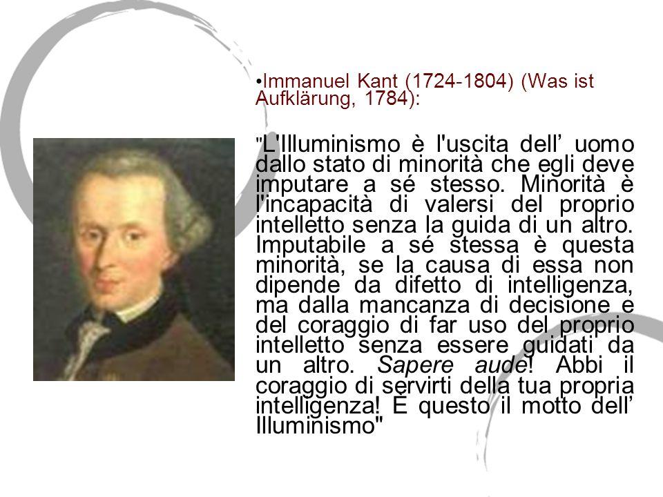 Che cosa è lillumismo? Immanuel Kant (1724-1804) (Was ist Aufklärung, 1784):