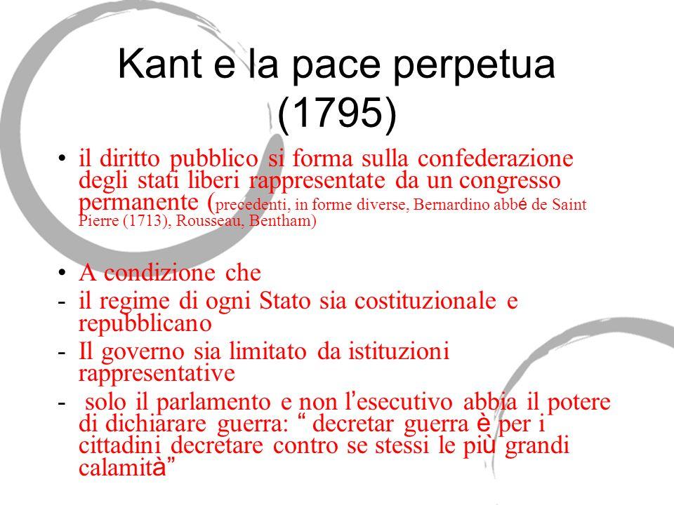 Kant e la pace perpetua (1795) il diritto pubblico si forma sulla confederazione degli stati liberi rappresentate da un congresso permanente ( precede