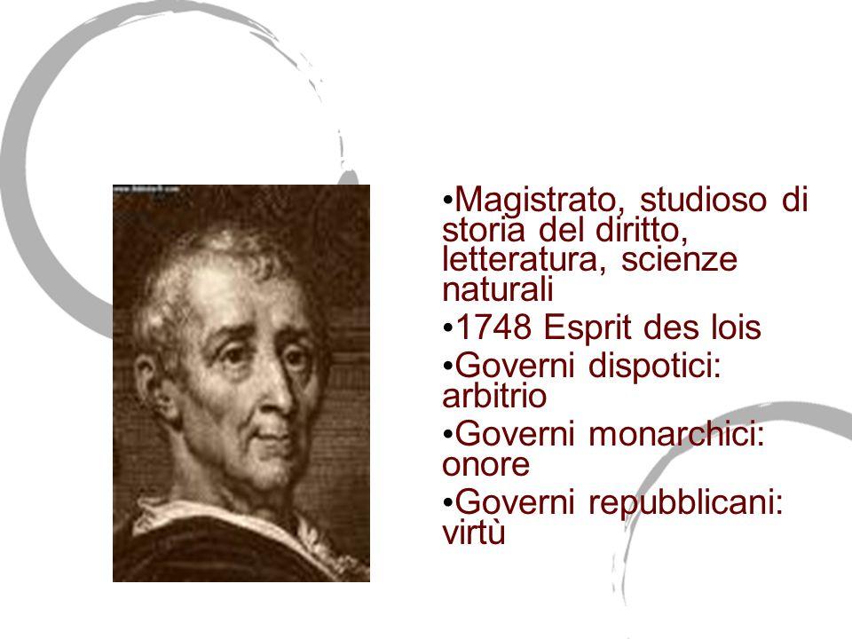 Charles de Secondat Barone di Montesquieu (1689-1755) Magistrato, studioso di storia del diritto, letteratura, scienze naturali 1748 Esprit des lois G
