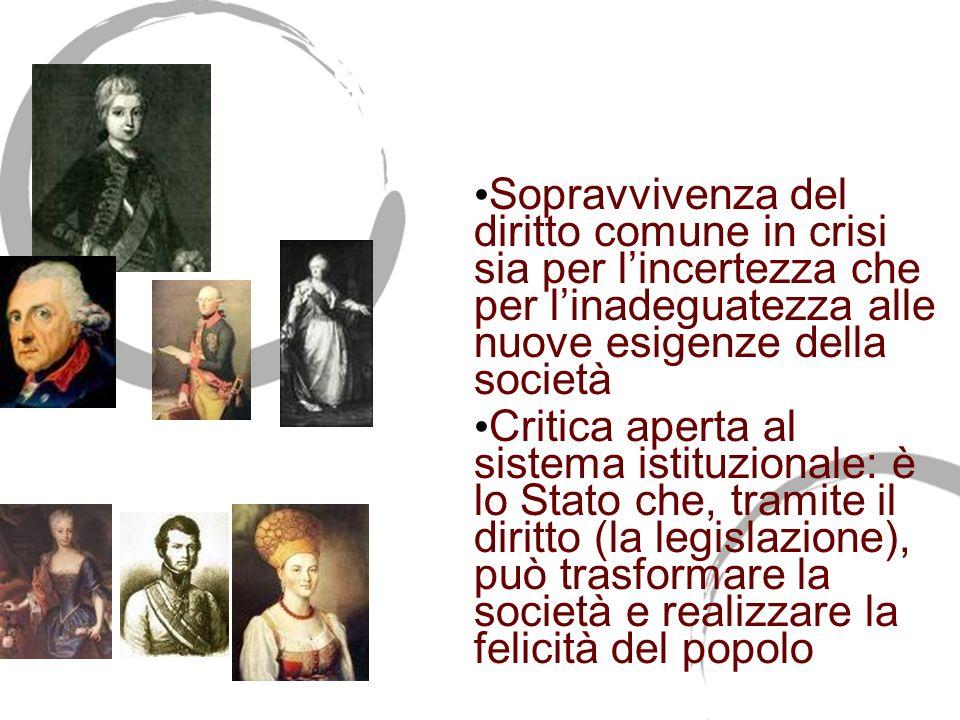 Letà delle riforme 1750-1814 Sopravvivenza del diritto comune in crisi sia per lincertezza che per linadeguatezza alle nuove esigenze della società Cr