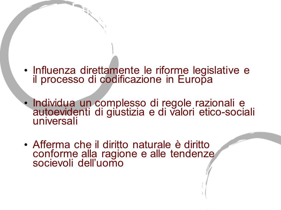 Effetti della corrente giusnaturalistica europea Influenza direttamente le riforme legislative e il processo di codificazione in Europa Individua un c