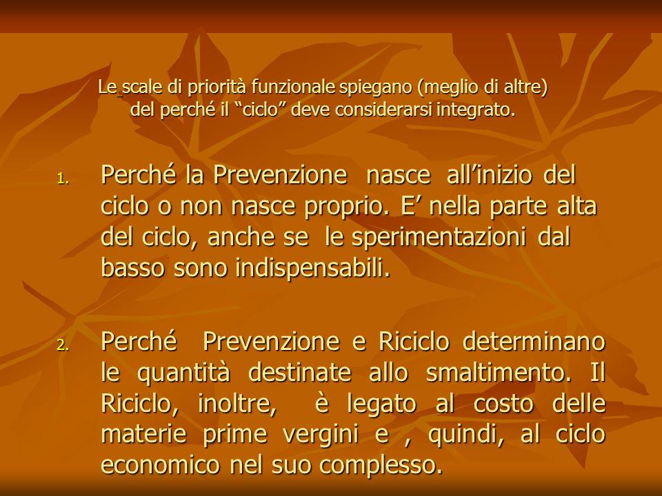 1. Perché la Prevenzione nasce allinizio del ciclo o non nasce proprio. E nella parte alta del ciclo, anche se le sperimentazioni dal basso sono indis