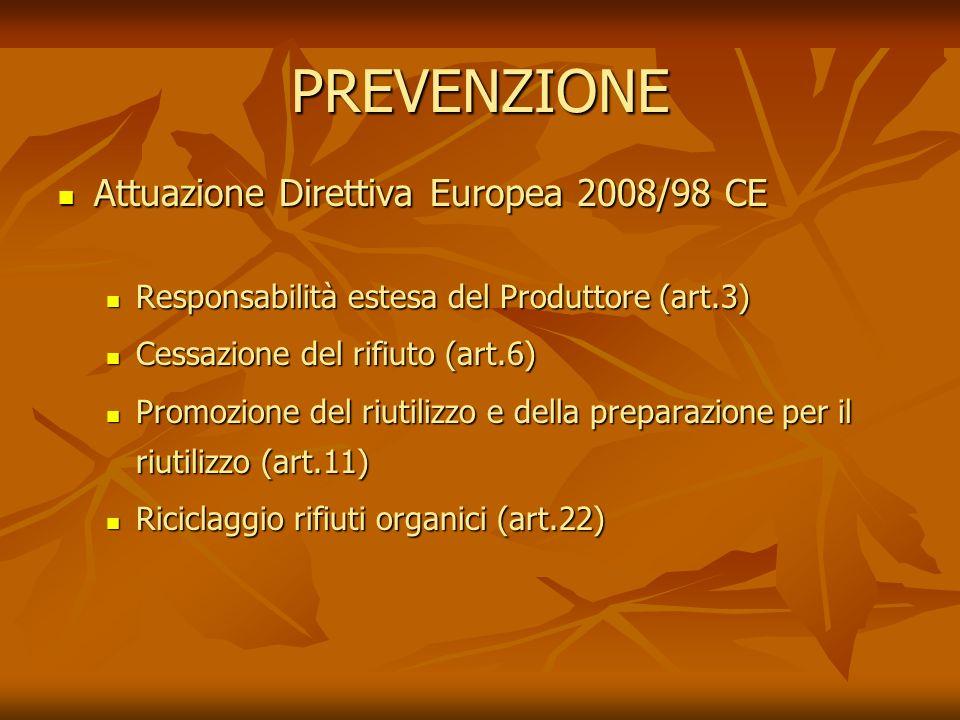 PREVENZIONE Attuazione Direttiva Europea 2008/98 CE Attuazione Direttiva Europea 2008/98 CE Responsabilità estesa del Produttore (art.3) Responsabilità estesa del Produttore (art.3) Cessazione del rifiuto (art.6) Cessazione del rifiuto (art.6) Promozione del riutilizzo e della preparazione per il riutilizzo (art.11) Promozione del riutilizzo e della preparazione per il riutilizzo (art.11) Riciclaggio rifiuti organici (art.22) Riciclaggio rifiuti organici (art.22)