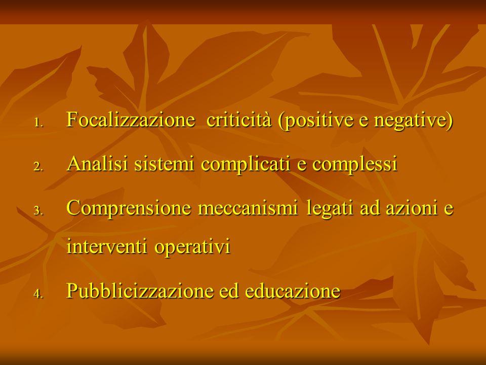 1. Focalizzazione criticità (positive e negative) 2. Analisi sistemi complicati e complessi 3. Comprensione meccanismi legati ad azioni e interventi o