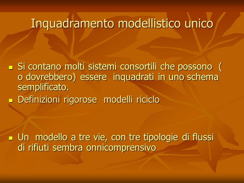 Inquadramento modellistico unico Si contano molti sistemi consortili che possono ( o dovrebbero) essere inquadrati in uno schema semplificato. Si cont