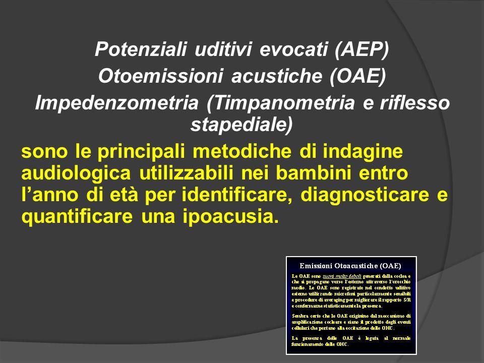 Potenziali uditivi evocati (AEP) Otoemissioni acustiche (OAE) Impedenzometria (Timpanometria e riflesso stapediale) sono le principali metodiche di in