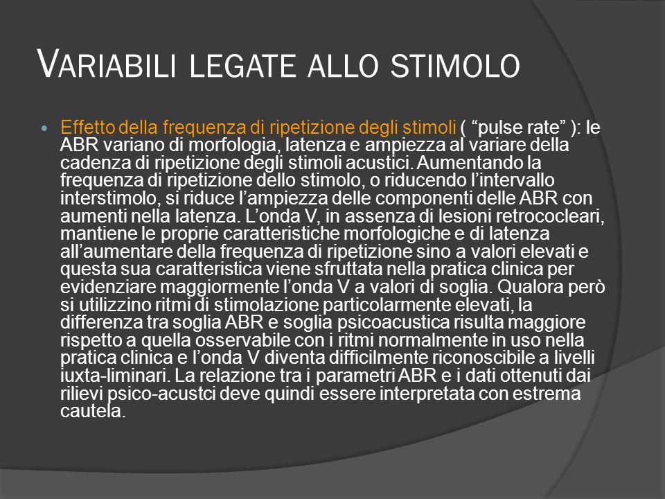 V ARIABILI LEGATE ALLO STIMOLO Effetto della frequenza di ripetizione degli stimoli ( pulse rate ): le ABR variano di morfologia, latenza e ampiezza a