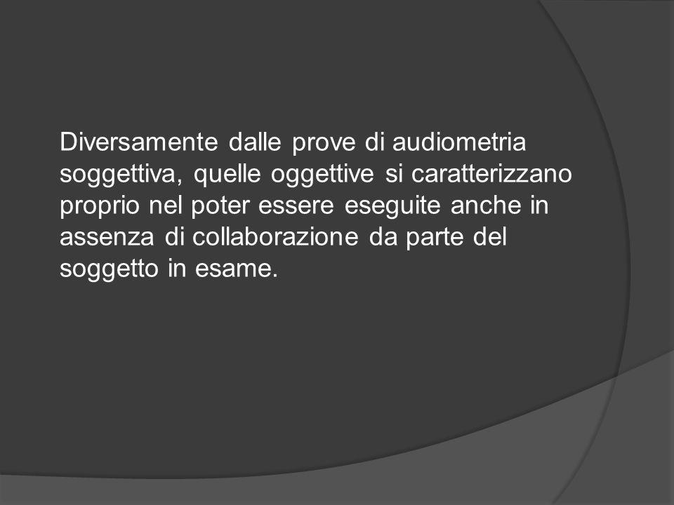 Diversamente dalle prove di audiometria soggettiva, quelle oggettive si caratterizzano proprio nel poter essere eseguite anche in assenza di collabora