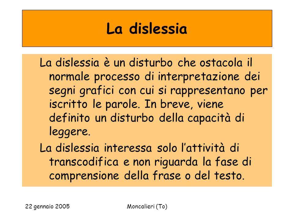 22 gennaio 2005Moncalieri (To) La dislessia La dislessia è un disturbo che ostacola il normale processo di interpretazione dei segni grafici con cui si rappresentano per iscritto le parole.