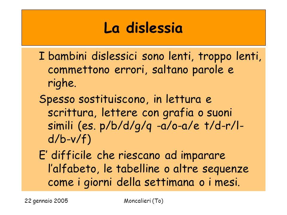 22 gennaio 2005Moncalieri (To) La dislessia I bambini dislessici sono lenti, troppo lenti, commettono errori, saltano parole e righe.