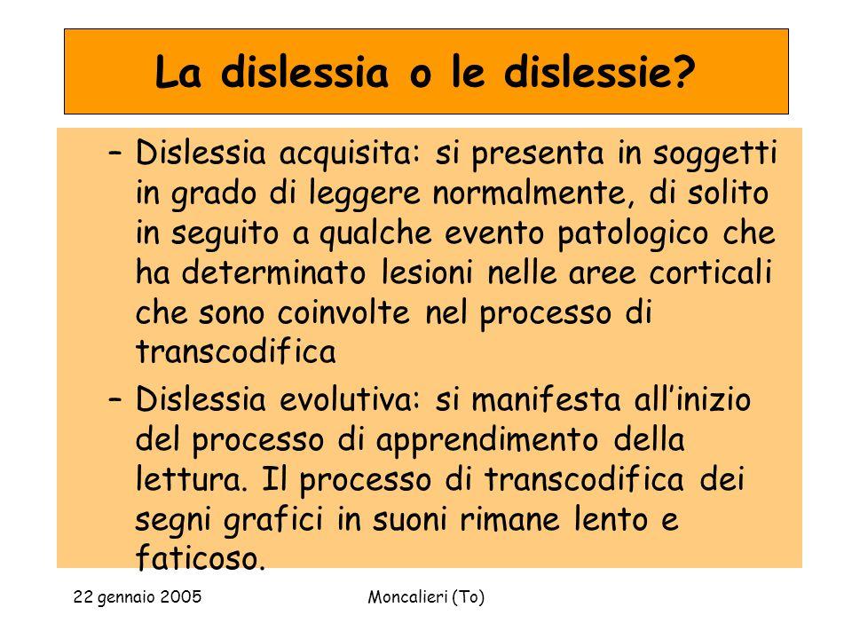22 gennaio 2005Moncalieri (To) La dislessia o le dislessie? –Dislessia acquisita: si presenta in soggetti in grado di leggere normalmente, di solito i