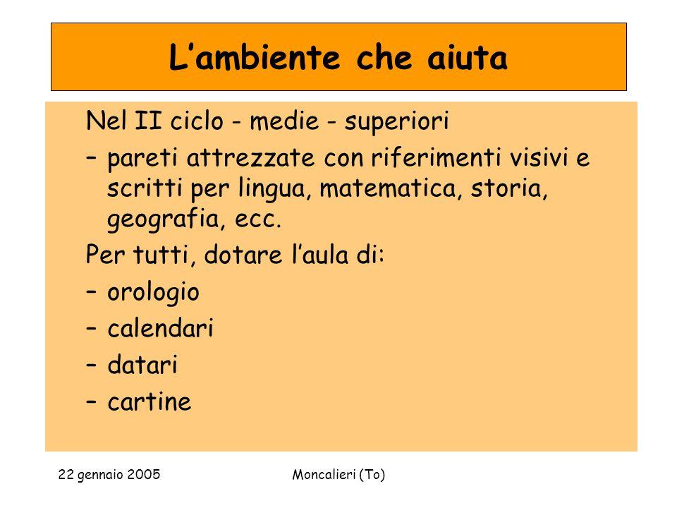 22 gennaio 2005Moncalieri (To) Lambiente che aiuta Nel II ciclo - medie - superiori –pareti attrezzate con riferimenti visivi e scritti per lingua, matematica, storia, geografia, ecc.