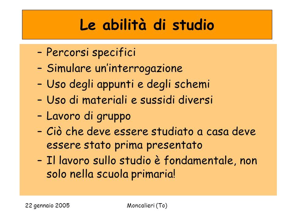 22 gennaio 2005Moncalieri (To) Le abilità di studio –Percorsi specifici –Simulare uninterrogazione –Uso degli appunti e degli schemi –Uso di materiali