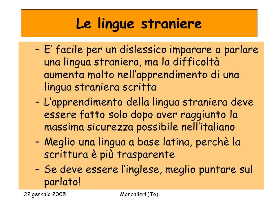 22 gennaio 2005Moncalieri (To) Le lingue straniere –E facile per un dislessico imparare a parlare una lingua straniera, ma la difficoltà aumenta molto