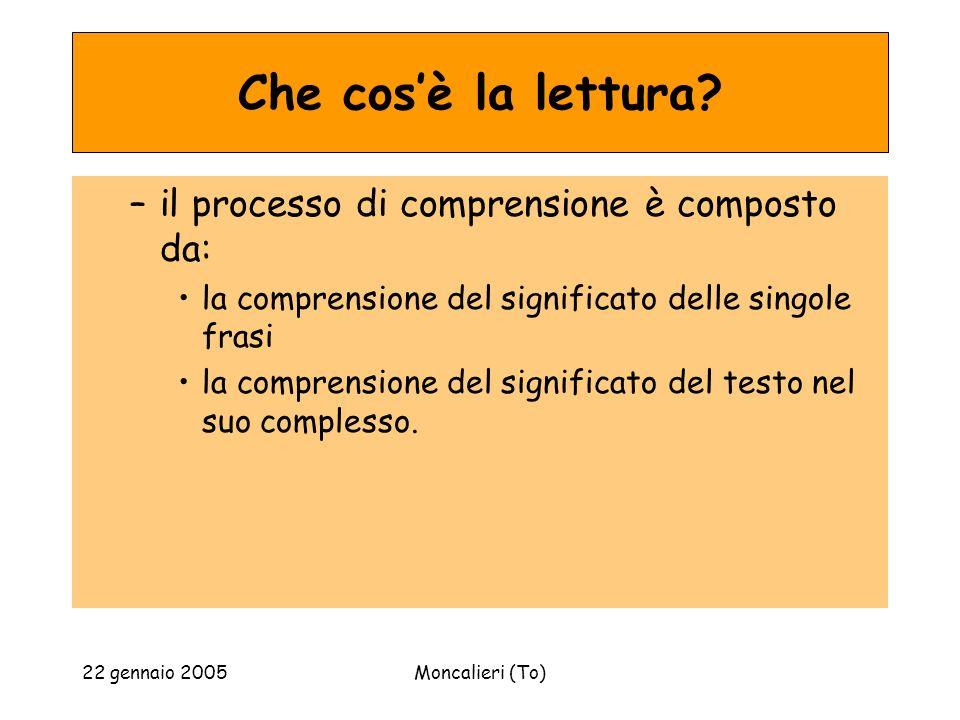 22 gennaio 2005Moncalieri (To) Che cosè la lettura? –il processo di comprensione è composto da: la comprensione del significato delle singole frasi la
