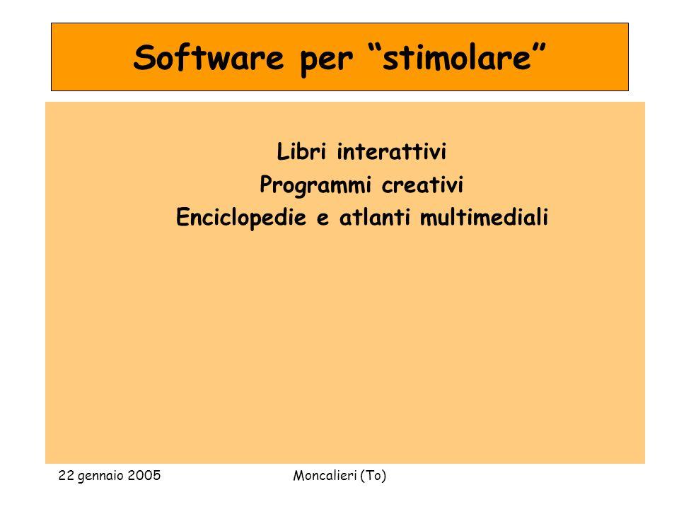 22 gennaio 2005Moncalieri (To) Software per stimolare Libri interattivi Programmi creativi Enciclopedie e atlanti multimediali
