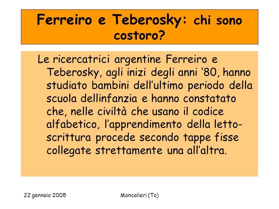 22 gennaio 2005Moncalieri (To) Ferreiro e Teberosky: chi sono costoro? Le ricercatrici argentine Ferreiro e Teberosky, agli inizi degli anni 80, hanno