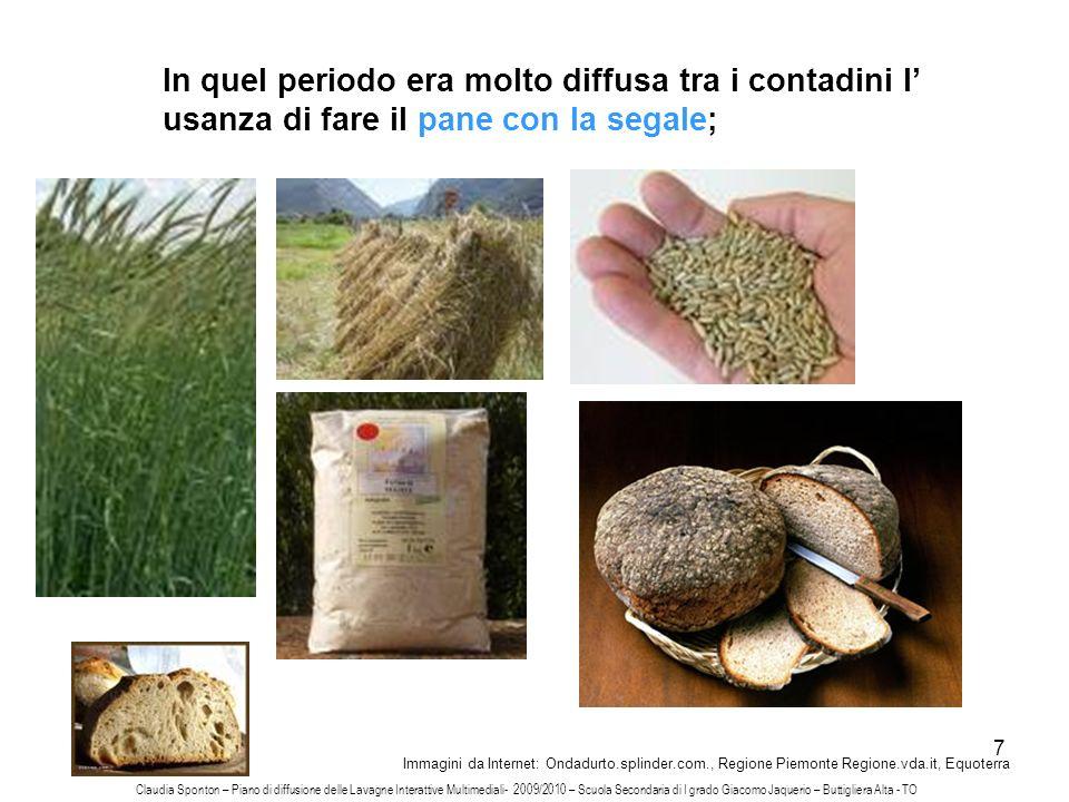 7 In quel periodo era molto diffusa tra i contadini l usanza di fare il pane con la segale; Immagini da Internet: Ondadurto.splinder.com., Regione Pie
