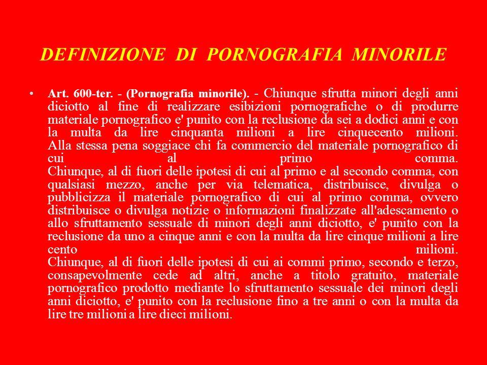DEFINIZIONE DI PORNOGRAFIA MINORILE Art.600-ter. - (Pornografia minorile).