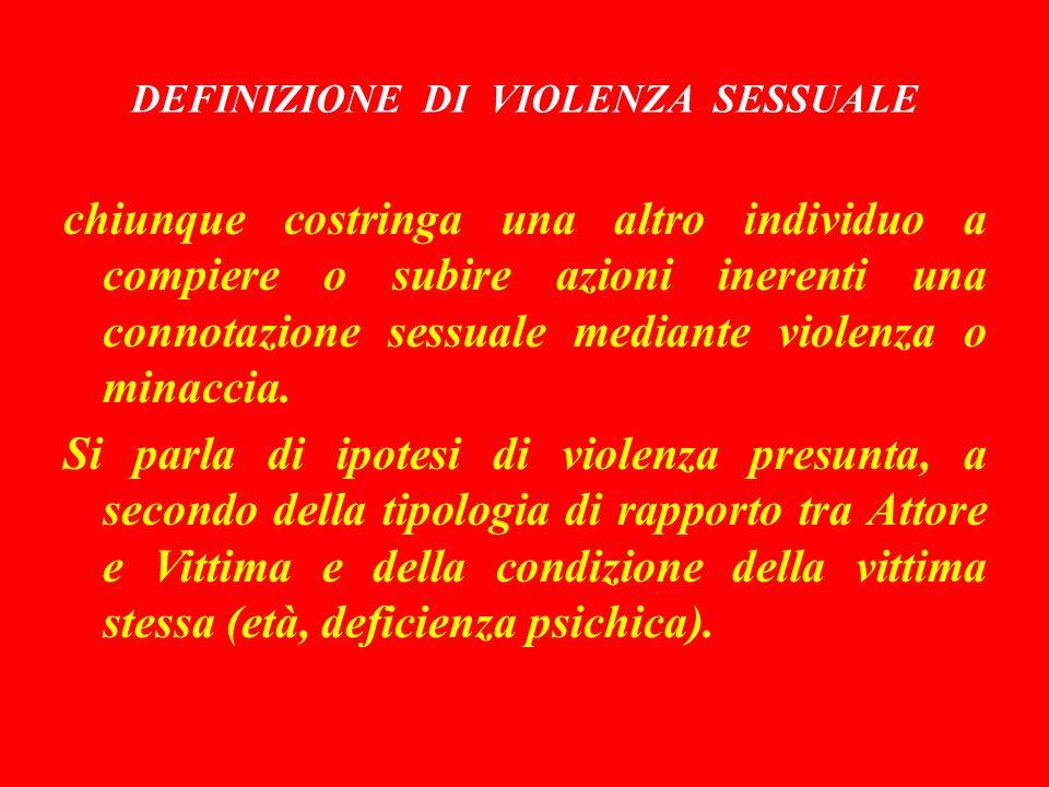 DEFINIZIONE DI VIOLENZA SESSUALE chiunque costringa una altro individuo a compiere o subire azioni inerenti una connotazione sessuale mediante violenza o minaccia.