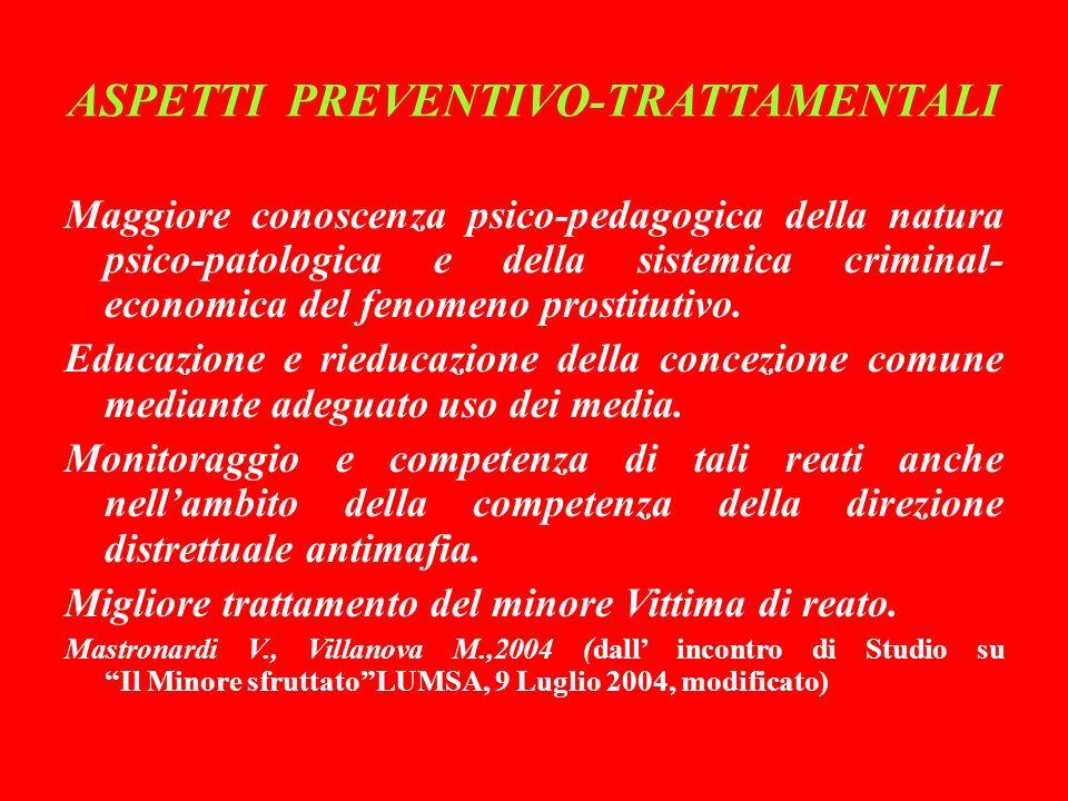 ASPETTI PREVENTIVO-TRATTAMENTALI Maggiore conoscenza psico-pedagogica della natura psico-patologica e della sistemica criminal- economica del fenomeno prostitutivo.