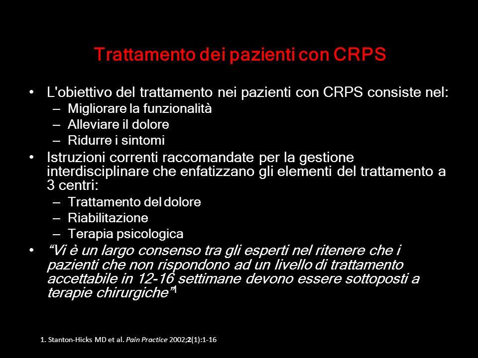 Trattamento dei pazienti con CRPS L'obiettivo del trattamento nei pazienti con CRPS consiste nel: – Migliorare la funzionalità – Alleviare il dolore –