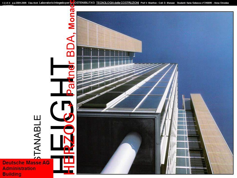 Progettista: Herzog+Partner BDA, Monaco Committente: Deutsche Messe AG, Hannover Data di commisione progetto: Estate 1997 Data di termine lavori: Primavera 1999 DATI TECNICI I.U.A.V.