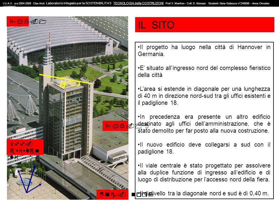 1 ingresso nord 2 uffici esistenti 3 nuova costruzione 4 stazione della metropolitana 5 viale centrale di ingresso 6 zona verde 7 pad.1 8 pad.