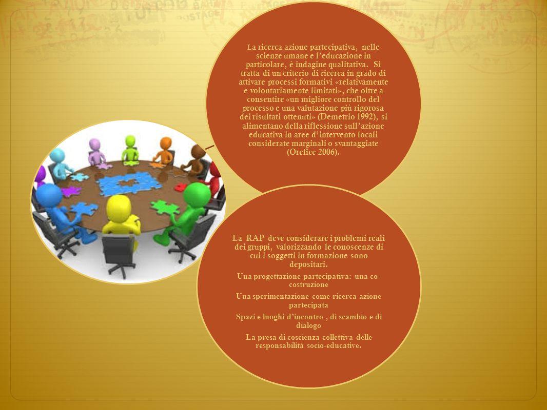 L a ricerca azione partecipativa, nelle scienze umane e leducazione in particolare, è indagine qualitativa. Si tratta di un criterio di ricerca in gra