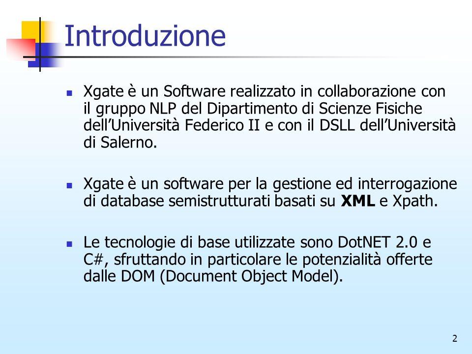 2 Introduzione Xgate è un Software realizzato in collaborazione con il gruppo NLP del Dipartimento di Scienze Fisiche dellUniversità Federico II e con il DSLL dellUniversità di Salerno.