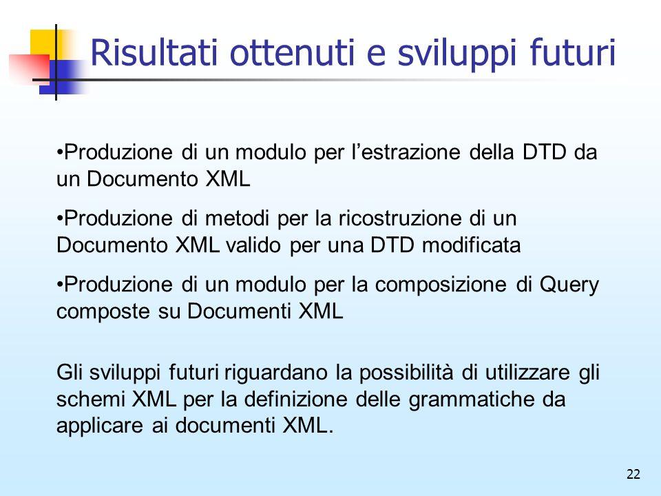 22 Risultati ottenuti e sviluppi futuri Produzione di un modulo per lestrazione della DTD da un Documento XML Produzione di metodi per la ricostruzione di un Documento XML valido per una DTD modificata Produzione di un modulo per la composizione di Query composte su Documenti XML Gli sviluppi futuri riguardano la possibilità di utilizzare gli schemi XML per la definizione delle grammatiche da applicare ai documenti XML.