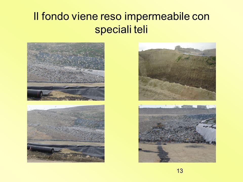 12 L a discarica controllata:un impianto tecnologicamente complesso 1)Il fondo della discarica viene interamente impermeabilizzato con speciali teli i