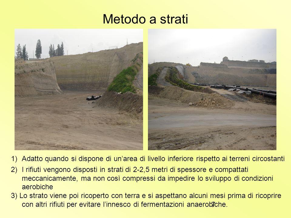 6 Smaltimento per discarica Esistono due metodi per scaricare i rifiuti in unarea di opportune caratteristiche: Metodo a strati Metodo a trincea