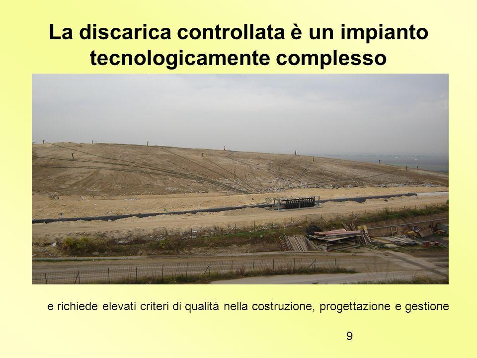 8 Metodo a trincee 1)Si presta per terreni pianeggianti. 2)Viene scavata una trincea e dalla rampa creata gli autocarri scaricano i rifiuti 3)Quando l