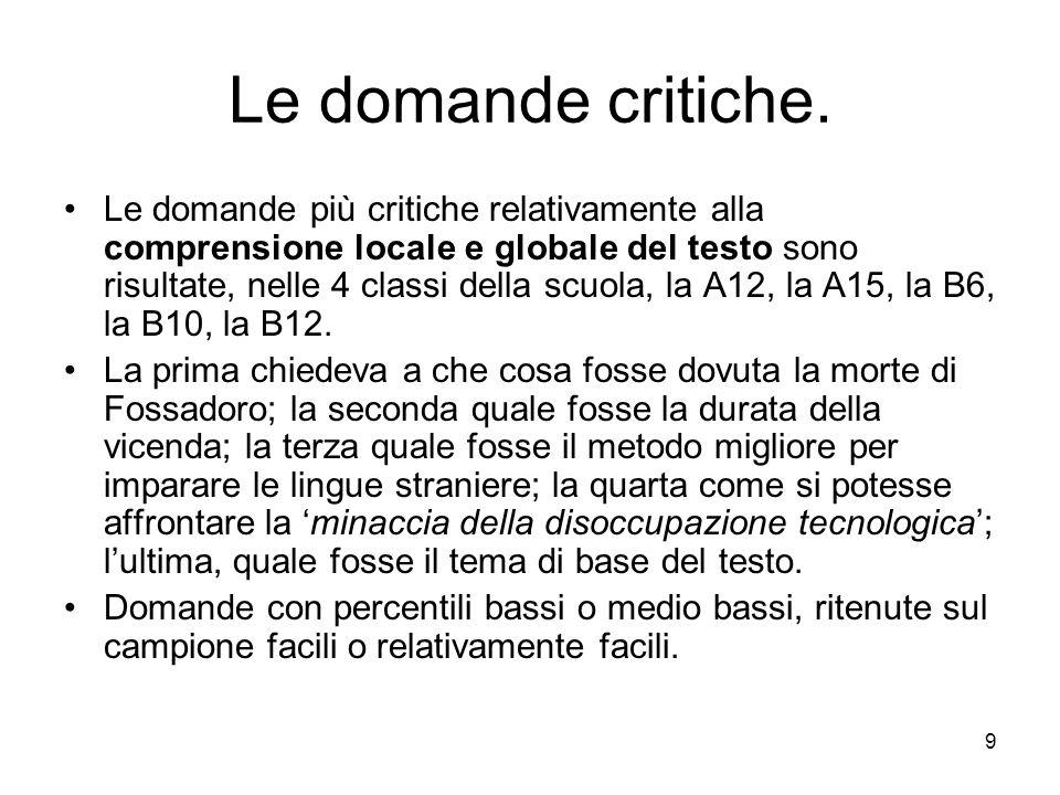 9 Le domande critiche. Le domande più critiche relativamente alla comprensione locale e globale del testo sono risultate, nelle 4 classi della scuola,