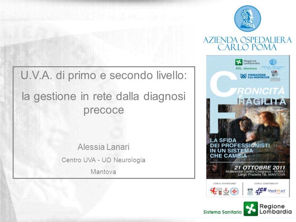 U.V.A. di primo e secondo livello: la gestione in rete dalla diagnosi precoce Alessia Lanari Centro UVA - UO Neurologia Mantova