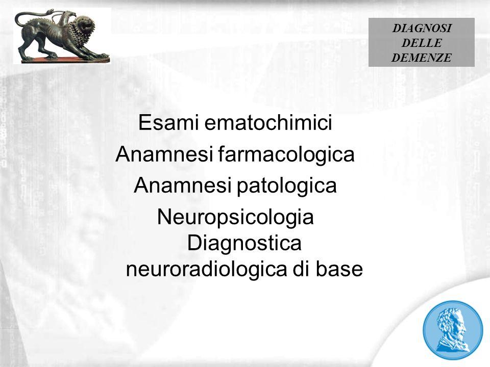 Esami ematochimici Anamnesi farmacologica Anamnesi patologica Neuropsicologia Diagnostica neuroradiologica di base DIAGNOSI DELLE DEMENZE