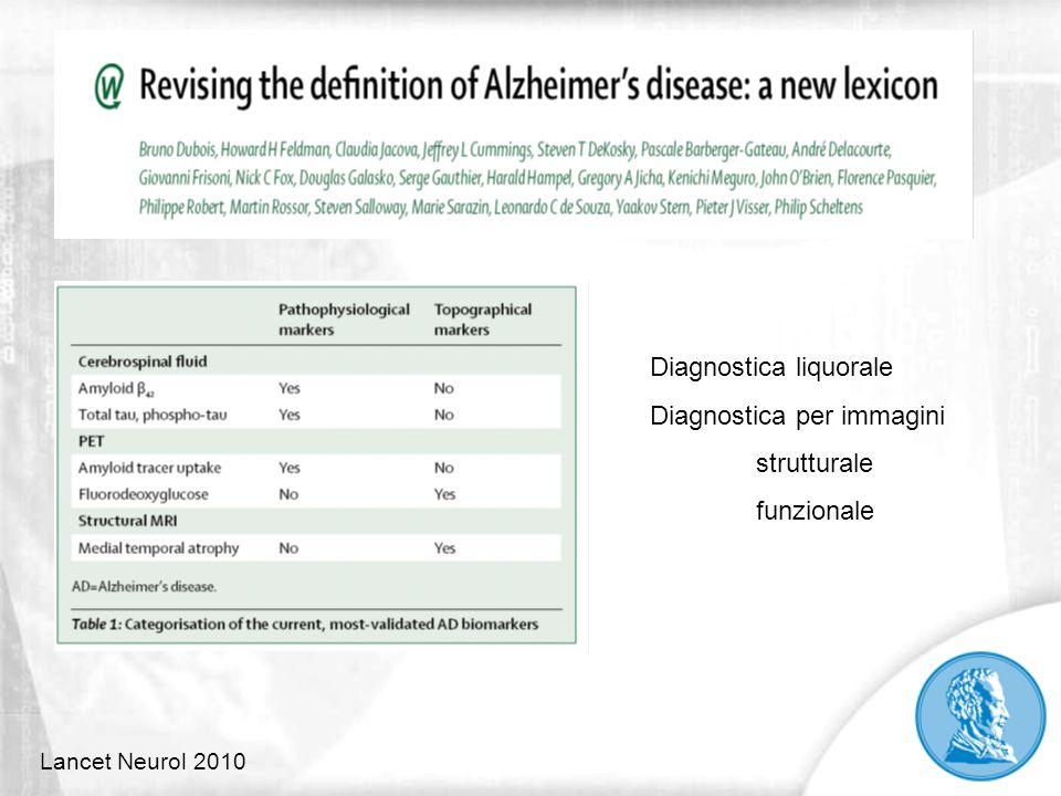 Lancet Neurol 2010 Diagnostica liquorale Diagnostica per immagini strutturale funzionale