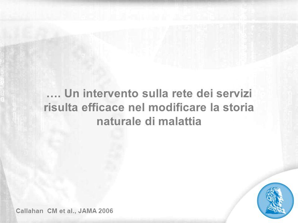 …. Un intervento sulla rete dei servizi risulta efficace nel modificare la storia naturale di malattia Callahan CM et al., JAMA 2006