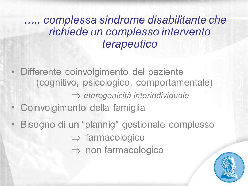 ….. complessa sindrome disabilitante che richiede un complesso intervento terapeutico Differente coinvolgimento del paziente (cognitivo, psicologico,
