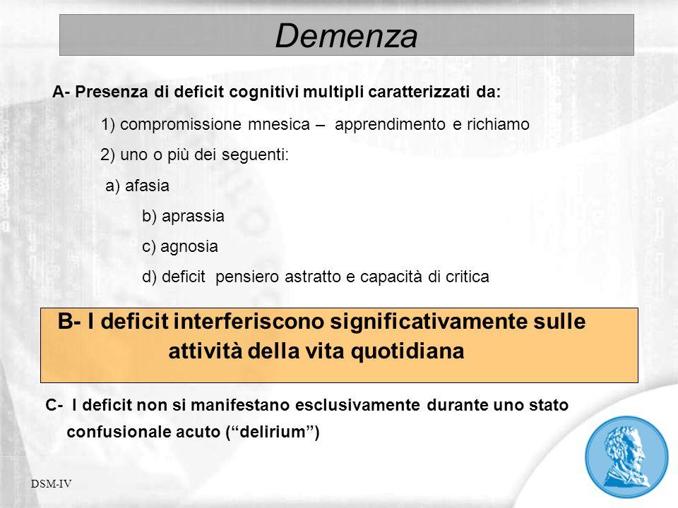 Demenza A- Presenza di deficit cognitivi multipli caratterizzati da: 1) compromissione mnesica – apprendimento e richiamo 2) uno o più dei seguenti: a
