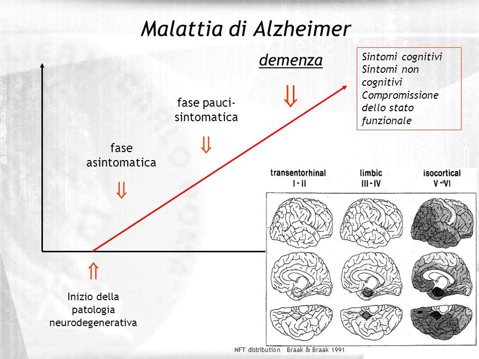 Malattia di Alzheimer Inizio della patologia neurodegenerativa fase asintomatica fase pauci- sintomatica demenza Anni Sintomi cognitivi Sintomi non co