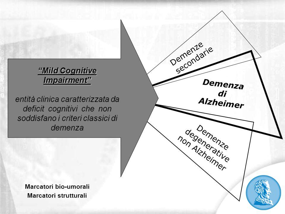 Demenze secondarie Demenze degenerative non Alzheimer Demenza di Alzheimer Mild Cognitive Impairment entità clinica caratterizzata da deficit cognitiv