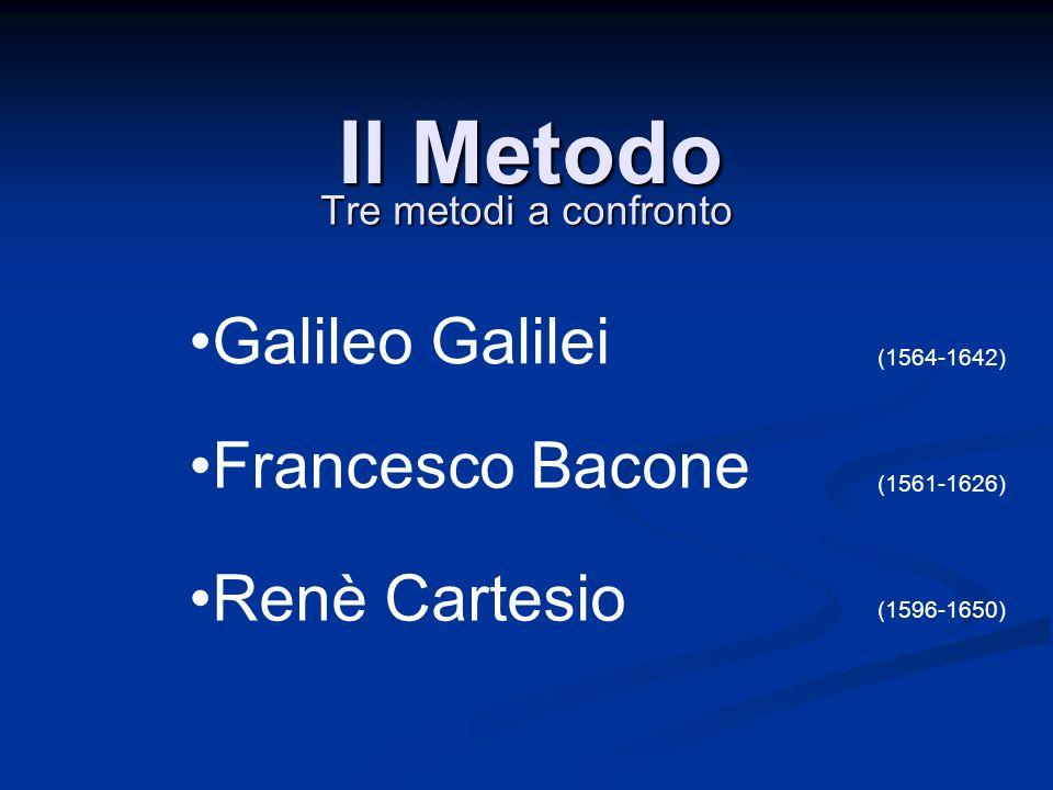 Il Metodo Tre metodi a confronto Galileo Galilei Renè Cartesio Francesco Bacone (1564-1642) (1561-1626) (1596-1650)