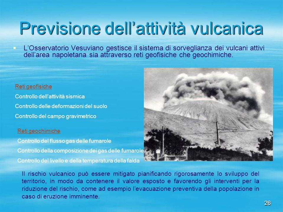 26 Previsione dellattività vulcanica LOsservatorio Vesuviano gestisce il sistema di sorveglianza dei vulcani attivi dellarea napoletana sia attraverso