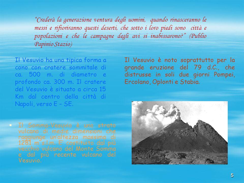 5 Il Somma-Vesuvio è uno strato vulcano di medie dimensioni che raggiunge unaltezza massima di 1281 m s.l.m. E costituito dal più vecchio vulcano del