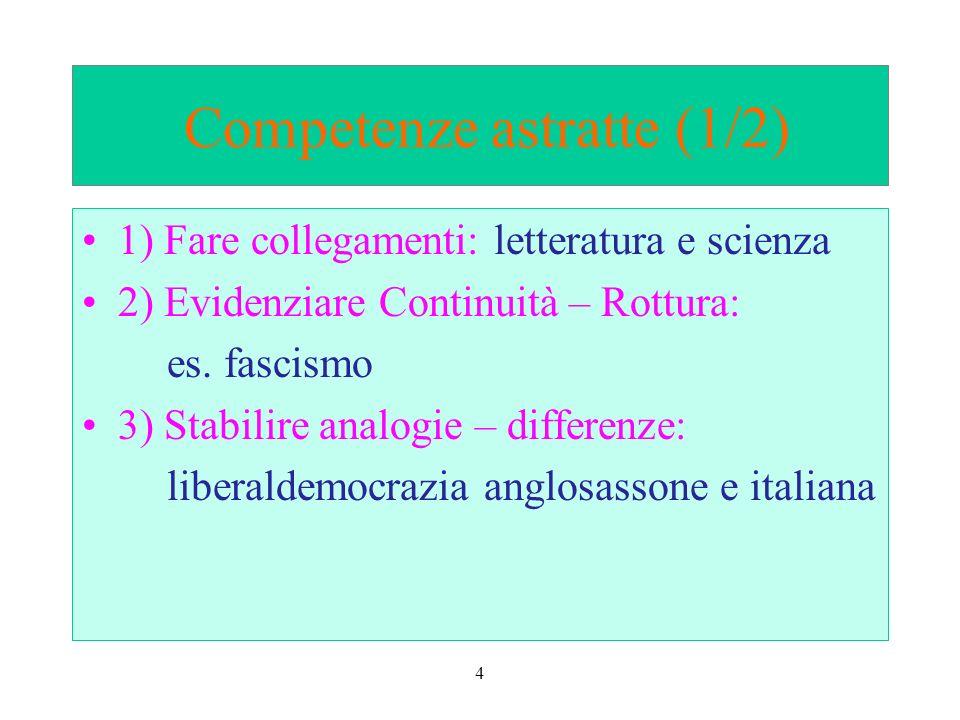 4 Competenze astratte (1/2) 1) Fare collegamenti: letteratura e scienza 2) Evidenziare Continuità – Rottura: es.