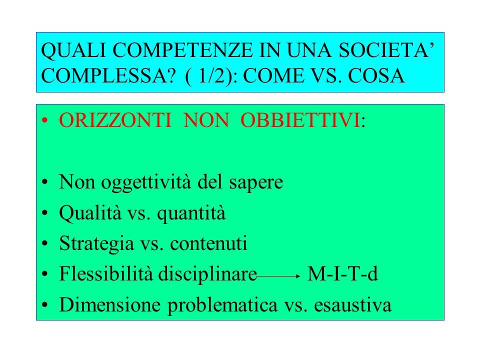 QUALI COMPETENZE IN UNA SOCIETA COMPLESSA?( 2/2) Sintesi vs.