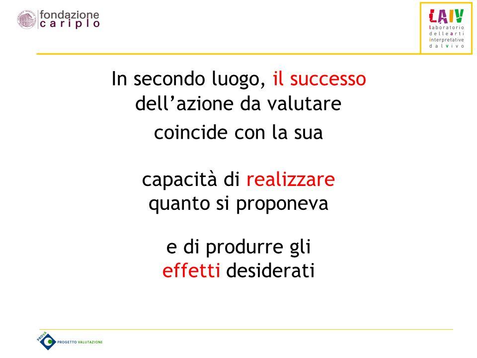 In secondo luogo, il successo dellazione da valutare coincide con la sua capacità di realizzare quanto si proponeva e di produrre gli effetti desiderati